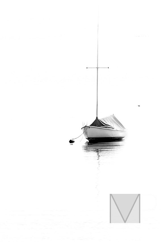 B7W sailboat with graphic lines and calm waters