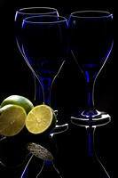 Blue goblets with limes