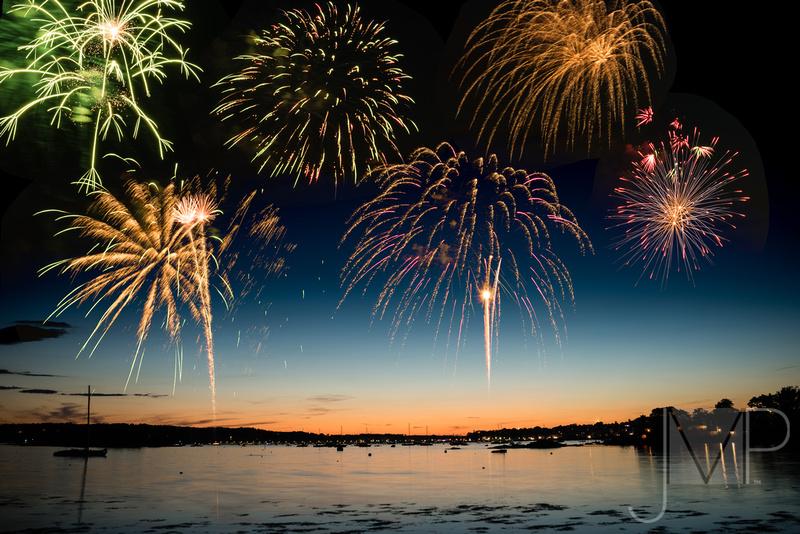 Fireworks over Gloucester Harbor